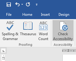 this is an image of the 'Check Accessibility' button in Microsoft Word